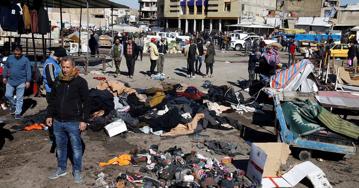 Twin suicide bombs rock busy Baghdad market, killing at least 28