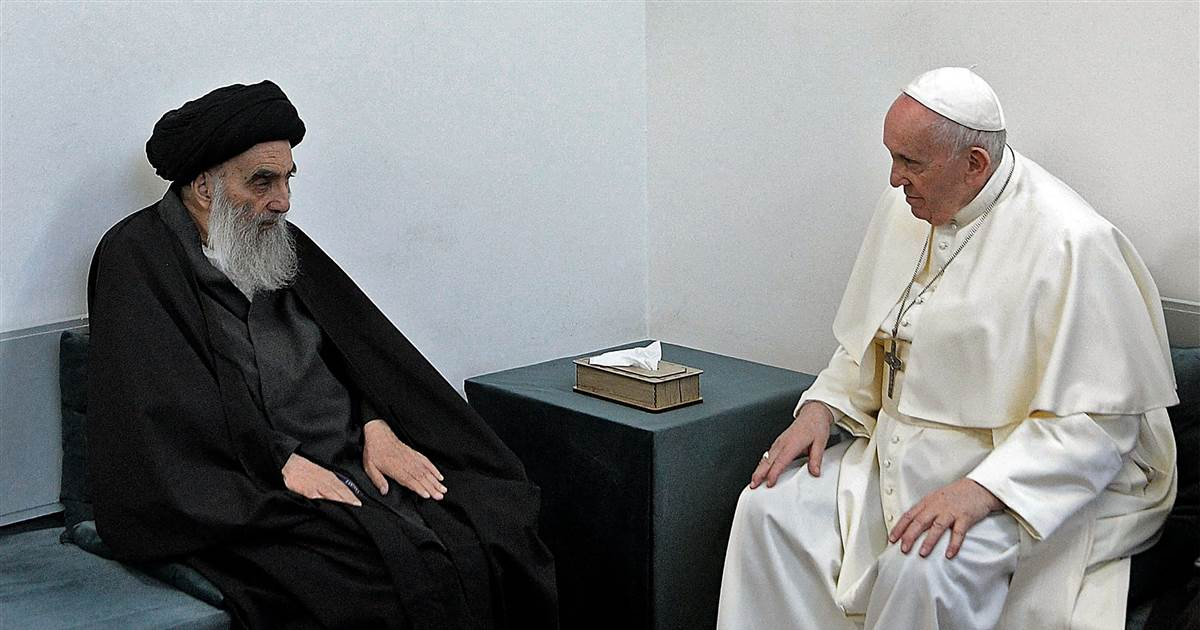 Pope holds historic meeting with Shiite cleric in Iraq, visits Abraham's birthplace